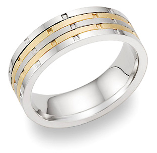 14K Two-Tone Gold Multi-Row Design Wedding Band Ring