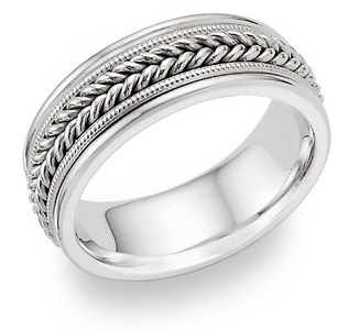14K White Gold 8mm Rope Design Wedding Band