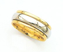 14K Two-Tone Gold 7.5mm Design Wedding Band Ring