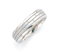 Brick Design Wedding Band Ring - 14K White Gold