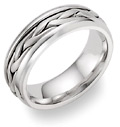 Wide Braided Wedding Band in 18K White Gold