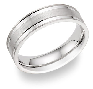 Flat Designer Wedding Band Ring, 14K White Gold
