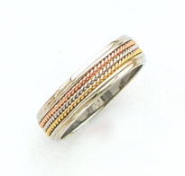 14K Tri-Color Gold Rope Design Wedding Band Ring