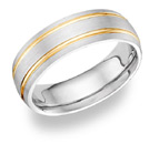 14K Two-Tone Gold 7mm Brushed Design Wedding Band Ring
