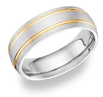 14K TwoTone Gold 7mm Brushed Design Wedding Band Ring