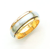 14K Two-Tone Gold Brushed Wedding Band Ring