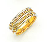 14K Two-Tone Gold Double Rope Design Wedding Band Ring