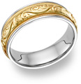 Paisley-Etched Wedding Band Ring - 14K Two-Tone Gold