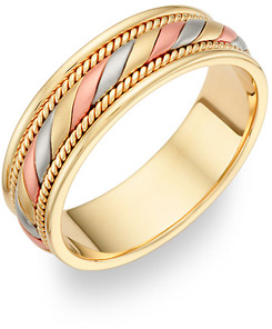 Designer Wedding Band in 18K Tri-Color Gold (Wedding Rings, Apples of Gold)