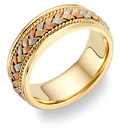 14K Tri-Color Gold Braided Wedding Band