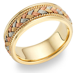 Buy Braided Wedding Band in 18K Tri-Color Gold