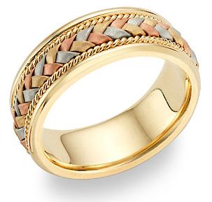 14K Tri-Color Gold Braided Wedding Band