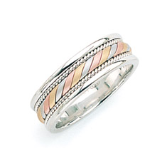14K Gold Tri-Color Designer Wedding Band