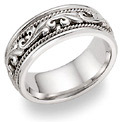 14K White Gold Paisley Wedding Band