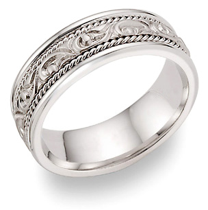Paisley Design Wedding Band 14K White Gold