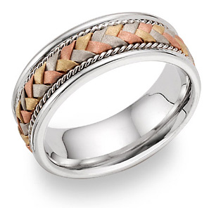 14K Tri-Color Gold Braided Wedding Band Ring