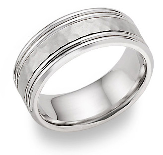Buy Hammered Double Edged Wedding Band in 18K White Gold