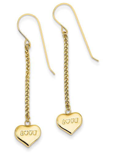 Dangling Love Heart Earrings, 14K Gold