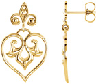 Decorative Heart Dangle Earrings in 14K Gold