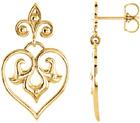 Decorative Heart Dangle Earrings in 14K Gold