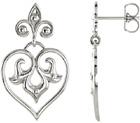 Decorative Silver Dangle Heart Earrings