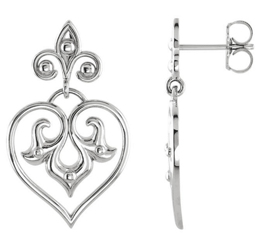 decorative heart dangle earrings in silver