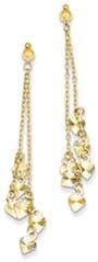 14K Gold Diamond-Cut Dangling Hearts Earrings