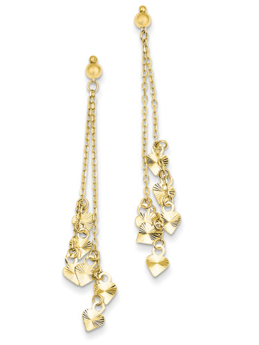 14K Gold Diamond-Cut Dangling Hearts Earrings