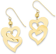 Flat Double Heart Earrings in 14K Gold