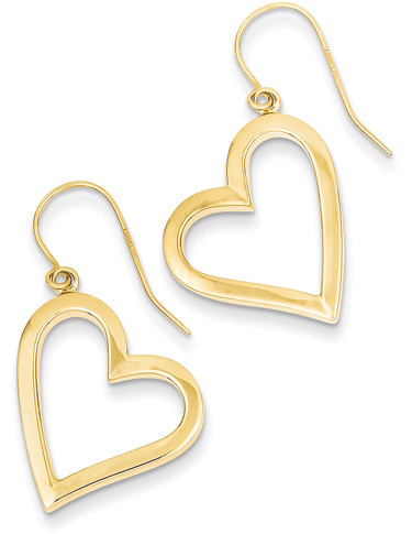 Heart Dangle Earrings, 14K Yellow Gold