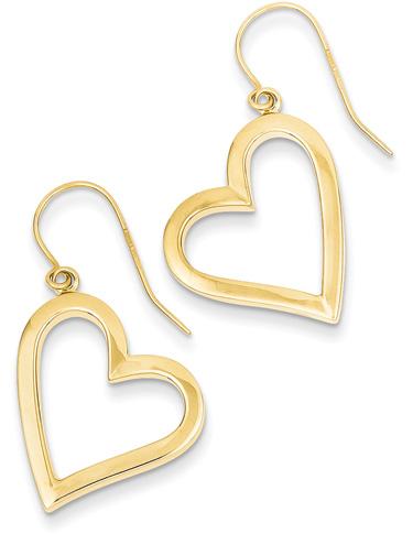 Heart Dangle Earrings, 14K Yellow Gold