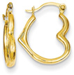 14K Gold Heart Hoop Earrings