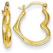 14K Gold Heart Hoop Earrings