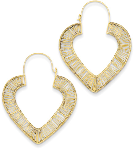 14K Gold Wire Wrap Heart Earrings