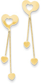 Dangle Heart Earrings, 14K Yellow Gold