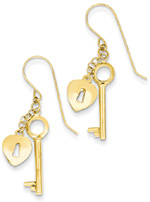 Heart Lock and Key Earrings, 14K Gold