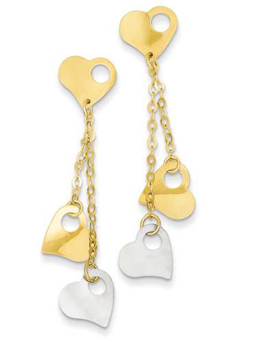 14K Two-Tone Gold Heart Dangle Earrings