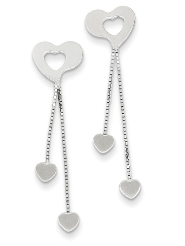 14K White Gold Dangle Heart Earrings