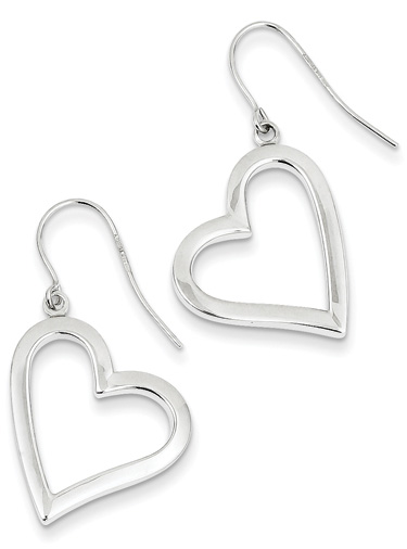 14K White Gold Heart Dangle Earrings