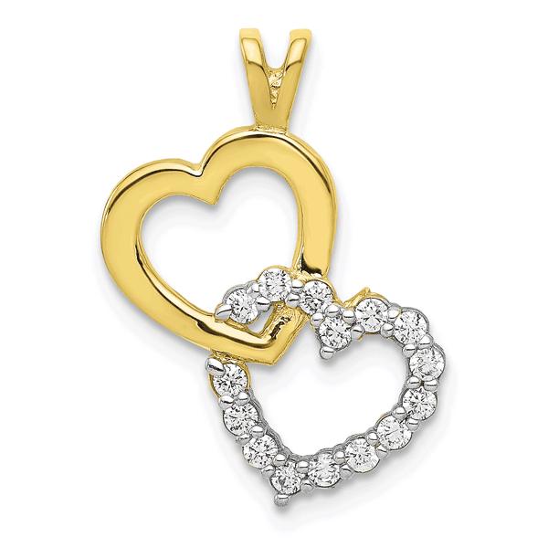10K Gold Double Heart CZ Pendant