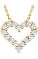 14K Yellow Gold 1/4 Diamond Heart Necklace