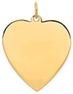 14K Gold Engravable Heart Pendant, Polished