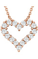 14K Rose Gold 0.25 Carat Diamond Heart Necklace