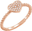 14K Rose Gold Beaded Diamond Heart Ring