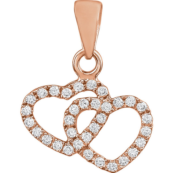 14K Rose Gold Double Diamond Heart Pendant