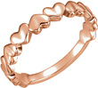 14K Rose Gold Heart Band