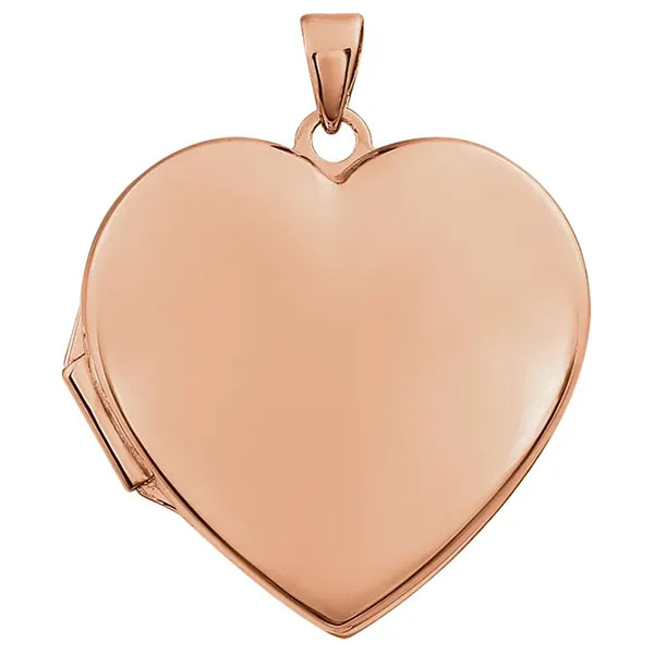 14K Rose Gold Heart Locket Pendant Necklace
