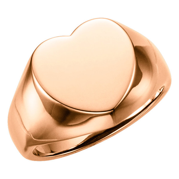 14K Rose Gold Heart Signet Ring
