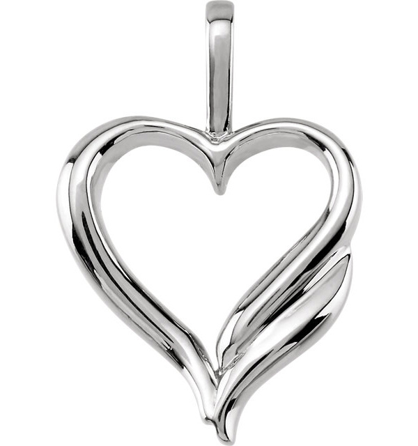 14K White Gold Design Heart Pendant