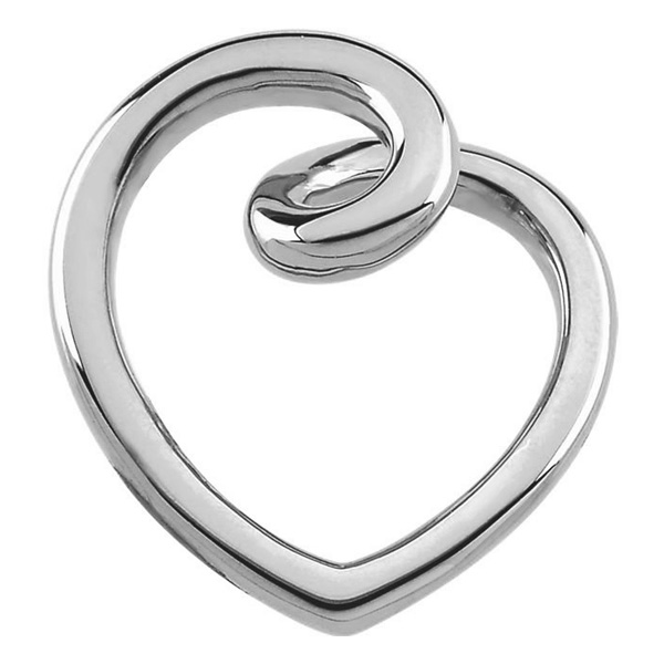 14K White Gold Fashion Heart Slide Pendant